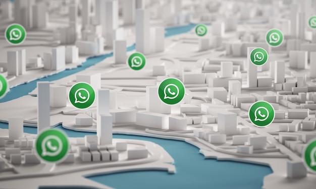 Icona di whatsapp sopra la vista aerea della rappresentazione delle costruzioni 3d della città
