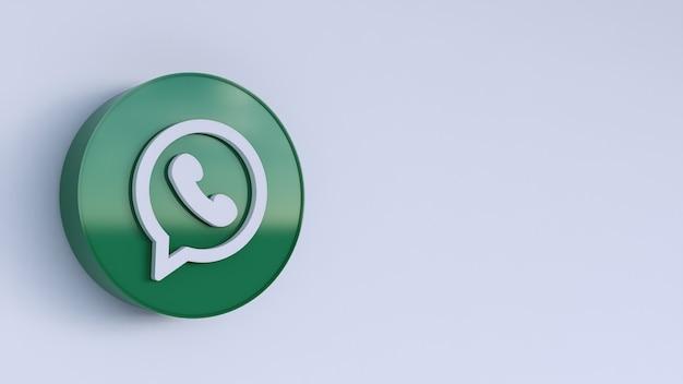 Whatsapp logo rendering 3d. modello di promozione dell'account.
