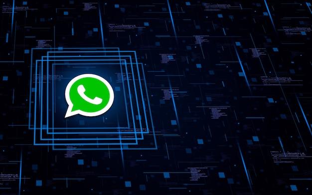 Icona con il logo whatsapp su background tecnologico con elementi di codice
