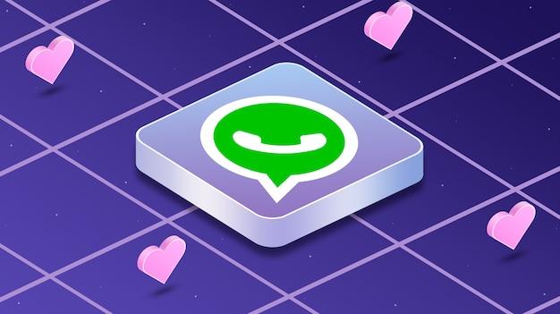 Icona logo whatsapp con cuori intorno a 3d