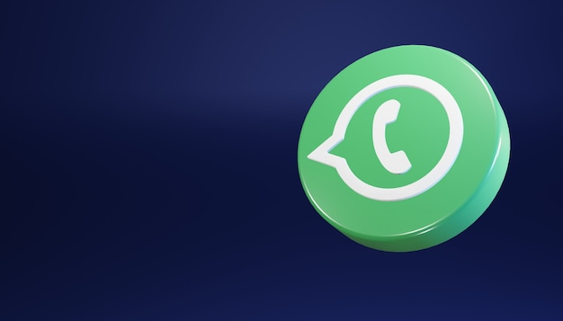 Whatsapp round icona 3d rende pulita e semplice dark social media illustrazione