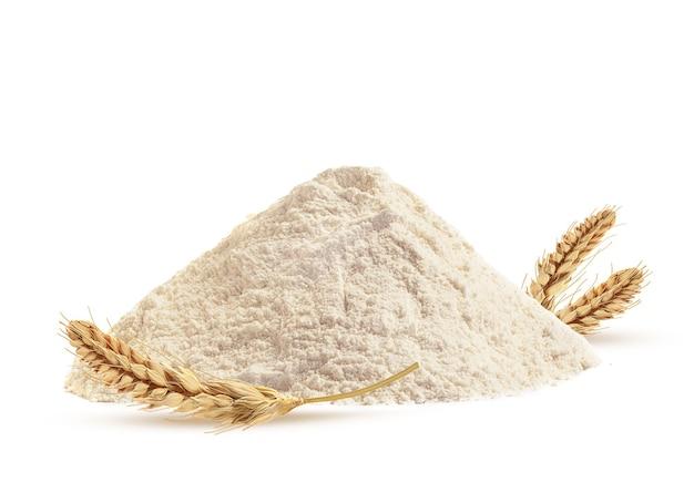 Farina di frumento e barrette di grano su uno sfondo bianco