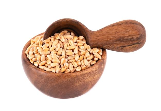 Chicchi di grano in una ciotola di legno e cucchiaio, isolati su bianco