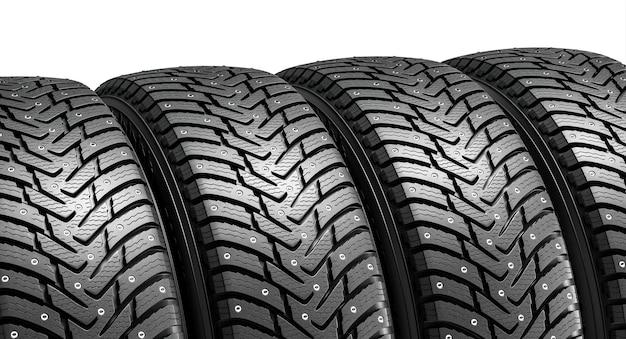 Set di ruote con pneumatici invernali. illustrazione di rendering 3d