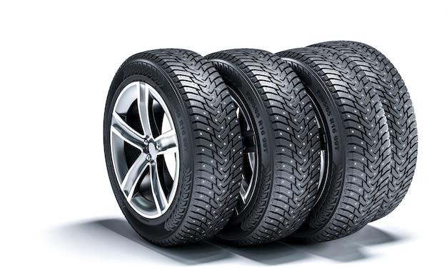 Set di ruote con pneumatici invernali. rendering 3d
