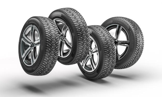 Ruote con pneumatici invernali che saltano su sfondo bianco. rendering 3d