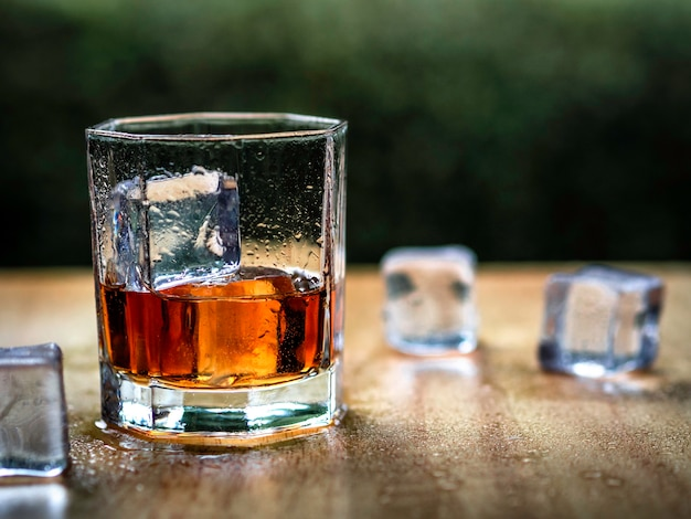 Vetro di whiskey con lo sfondo della natura