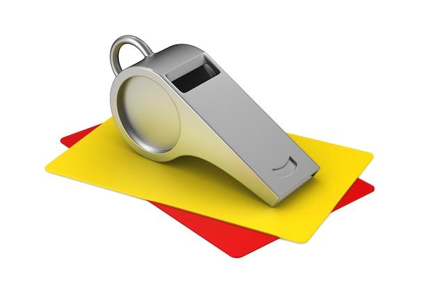 Fischietto e carte su sfondo bianco. illustrazione 3d isolata