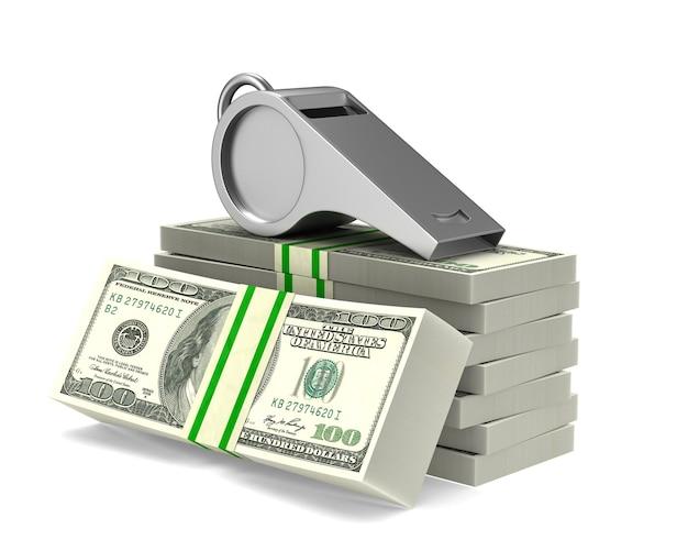 Fischio e soldi su bianco.