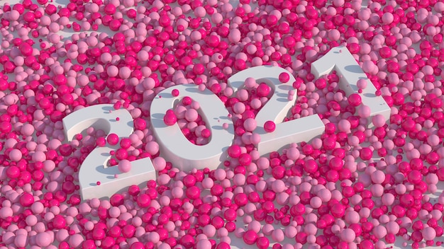 Design tipografico bianco 2021 palline rosa lucide