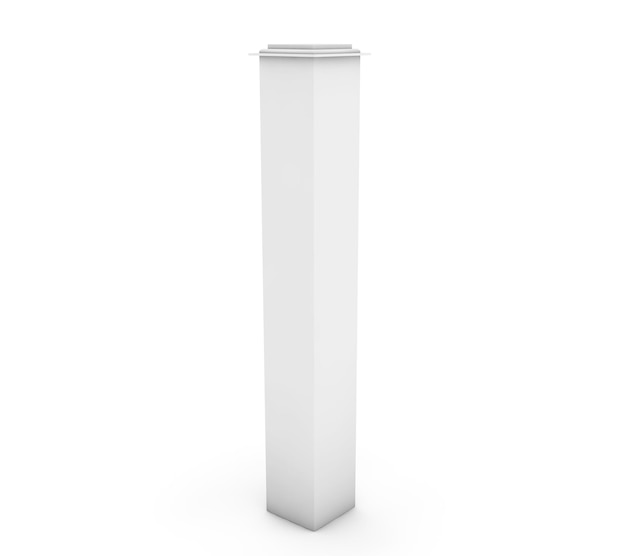 Colonna 3d bianca su sfondo bianco
