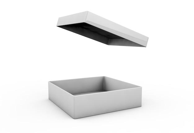 Bianco 3d rendering vuoto scatola rettangolare aperta con scatola coperchio separato, isolato sfondo grigio