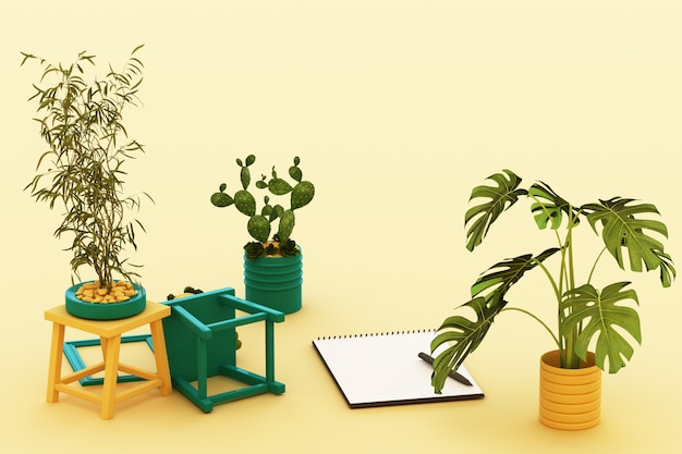 Una carta lanciata a4 bianca con la struttura e la penna nere del cactus della pianta in vaso della lavagna per appunti sulla rappresentazione gialla pastello 3d