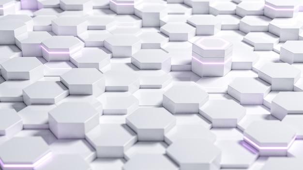 Sfondo esagonale futuristico astratto bianco con rendering 3d di luce viola