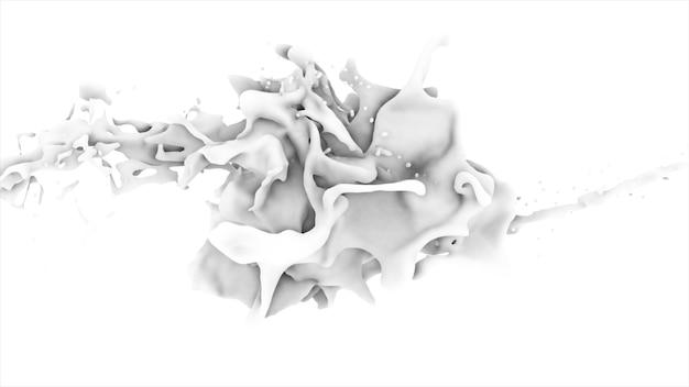 Fronte liquido astratto bianco in spruzzata isolato sull'illustrazione bianca del fondo 3d