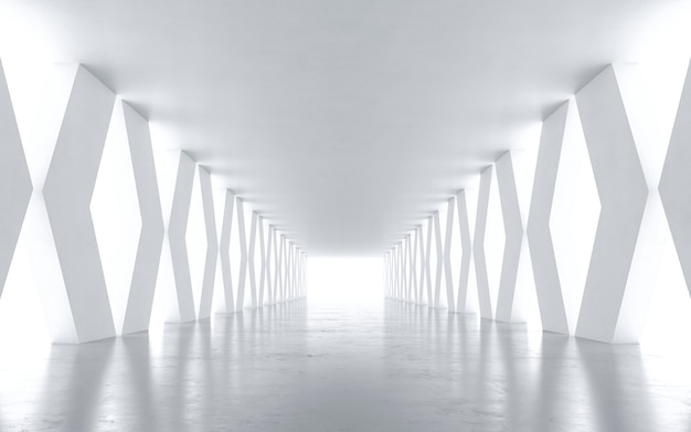 Tunnel astratto bianco. rendering 3d