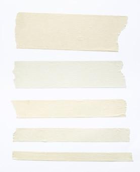 Set di nastri adesivi bianchi isolati su sfondo bianco