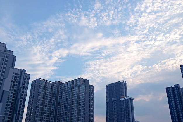 Altocumuli bianchi sparsi sul cielo azzurro sopra il gruppo di grattacieli