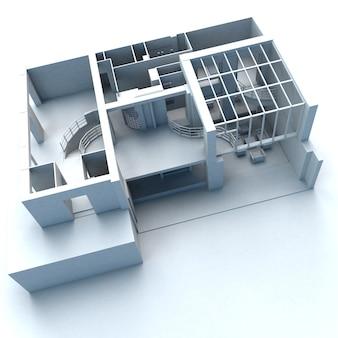 Modello di architettura bianca dall'aspetto moderno