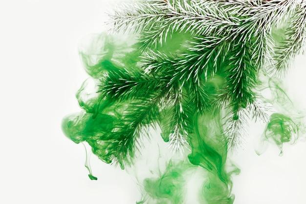 Sfondo bianco acrilico all'interno di acqua ramo verde albero di natale inverno
