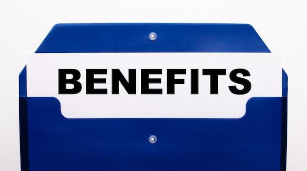 Su uno sfondo bianco, una cartella blu per i documenti. nella cartella c'è un foglio di carta con la scritta benefici