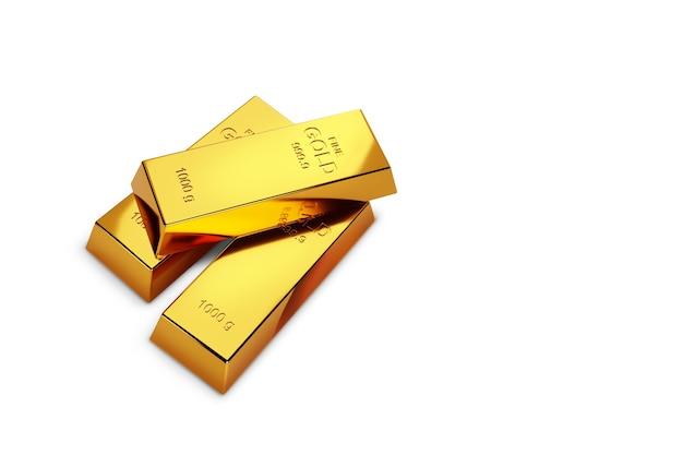 Sfondo bianco e lingotti d'oro. illustrazione 3d