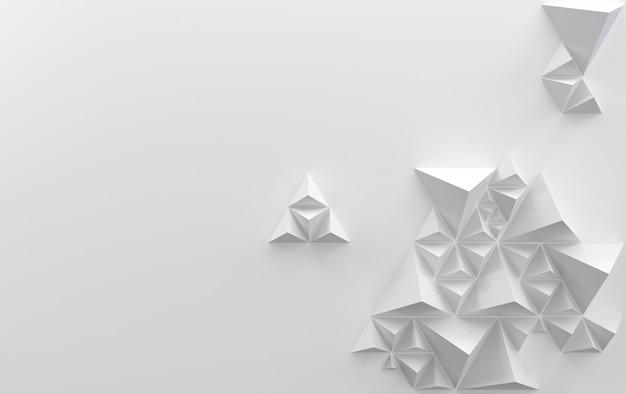 Sfondo bianco con piramidi triangolari, rendering 3d