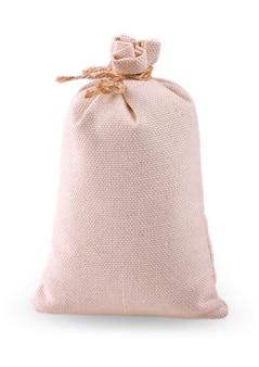 Borsa bianca di tela da imballaggio isolato su sfondo bianco