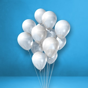 Mazzo di palloncini bianchi su uno sfondo di parete blu. rendering di illustrazione 3d