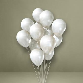 Mazzo di palloncini bianchi su uno sfondo grigio muro. rendering di illustrazione 3d