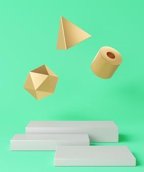 Base bianca disposta in tre pezzi e tre oggetti geometrici dorati fluttuanti su sfondo turchese, sfondo minimalista per il branding e la presentazione. rendering 3d