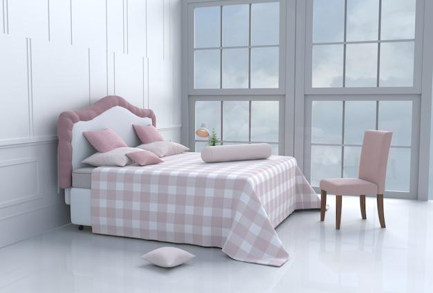 Arredamento camera da letto bianca con cuscini, coperta, finestra, cielo, lampada, sedia, pavimento in cemento.