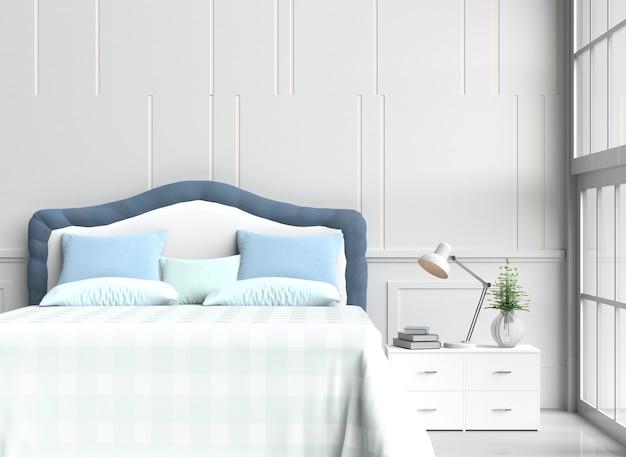 La decorazione bianca della stanza del letto con i cuscini, coperta blu-chiaro della tavola, sedia, finestra, 3d rende.
