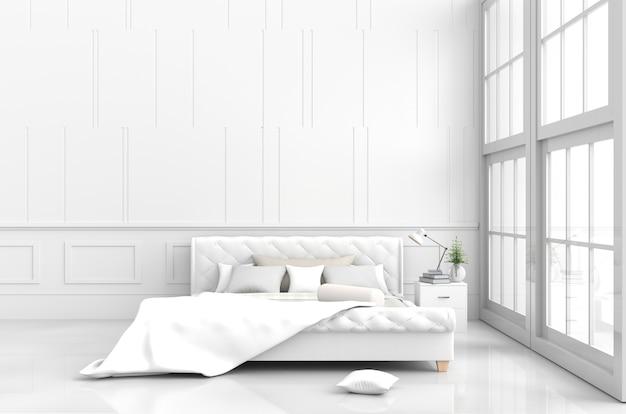 La decorazione bianca della stanza del letto con i cuscini, coperta bianca, letto, lampada, finestra, 3d rende.