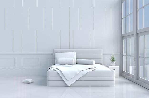 Arredamento camera da letto bianca con cuscini, coperta bianca, finestra, cielo. rendering 3d