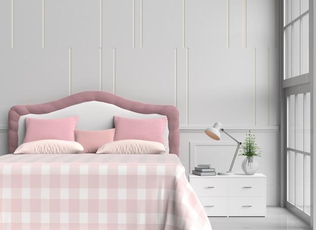 Decorazioni in camera da letto bianca con cuscini rosa e arancioni, comodino in legno, coperta arancione. 3d rend
