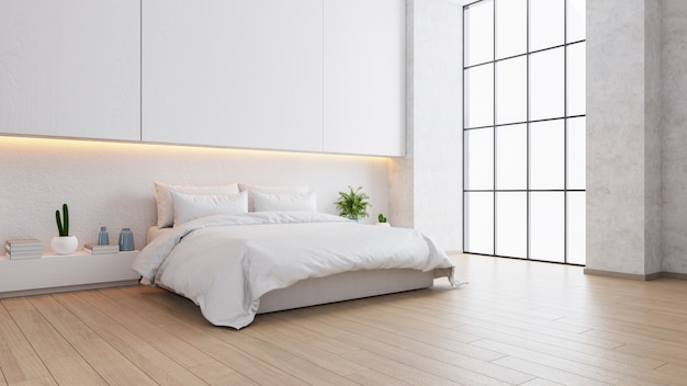 Lo spazio interno bianco e accogliente della camera da letto, il design moderno, 3d rende