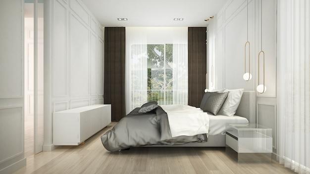 Il design degli interni della camera da letto bianca e il motivo della parete