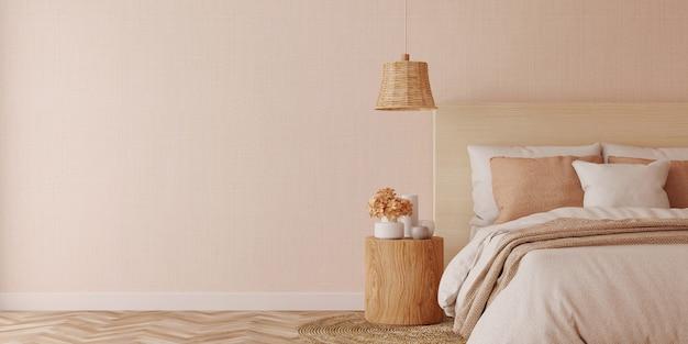 Interior design della camera da letto bianca con lenzuola pulite