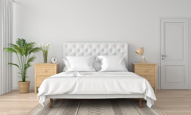 Interno bianco della camera da letto