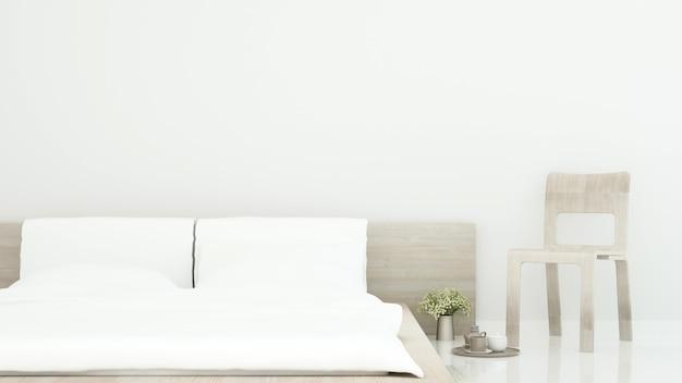 Camera da letto bianca e zona giorno in casa o appartamento