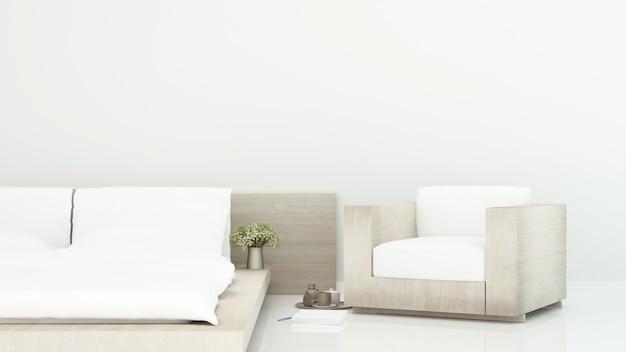 Camera da letto bianca e zona giorno in hotel o appartamento