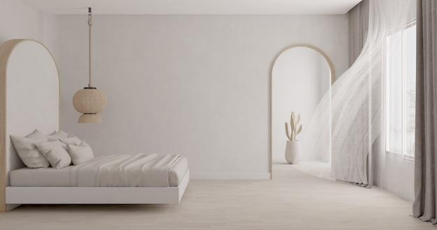 Camera da letto bianca con tenda che soffia.