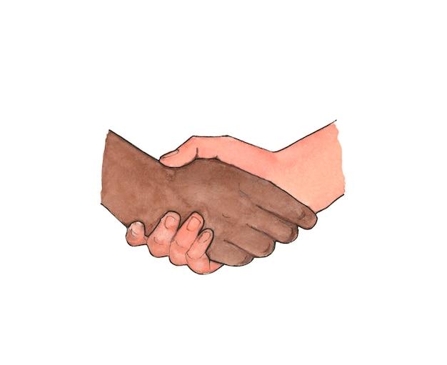 Uomo bianco e nero che agitano le mani, illustrazione
