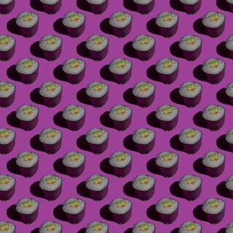 Modello senza cuciture sushi bianco e nero. realizzato in uno stile piatto su uno sfondo rosa. Foto Premium