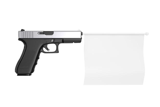 Bandiera bianca in bianco per il tuo design che esce dalla pistola moderna su uno sfondo bianco 3d rendering