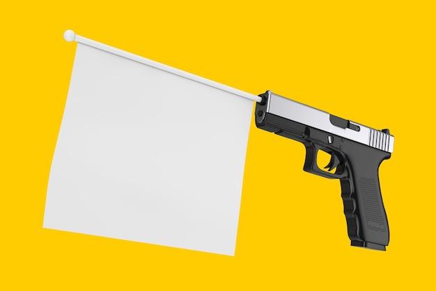 Bandiera bianca in bianco per il tuo design che esce dalla pistola moderna su uno sfondo giallo 3d rendering
