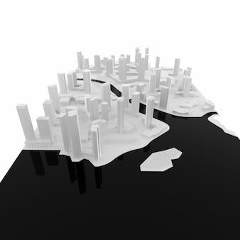 Modello in bianco bianco di una città costruita dall'acqua