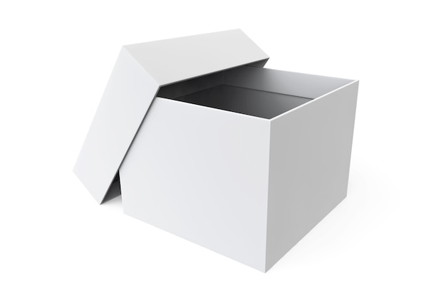 Scatola aperta vuota bianca su sfondo bianco