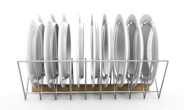 Piatto bianco bianco mock up titolare isolato. supporto per mockup piatto vuoto. stoviglie trasparenti pronte per la presentazione di motivi, texture, arte o ornamenti. rendering 3d